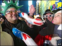 Revellers celebrate during the countdown to 2006 in Times Square, New York