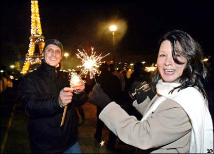 Celebrations near the Eiffel Tower, Paris