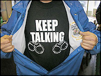 "Baltimore police's ""keep talking"" t-shirt"