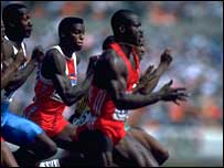 Carl Lewis glances at Ben Johnson in disbelief as the Canadian beats him to Olympic gold in 1988