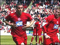 Richie Byrne celebrates after scoring his first goal for Aberdeen