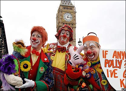 Clowns in front of Big Ben