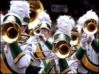 A part of the brass section of an American marching band