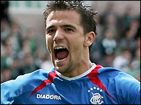 Rangers striker Nacho Novo celebrates scoring for