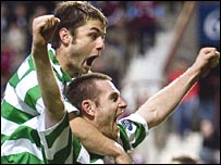 Shaun Maloney and Stephen McManus celebrated at Tynecastle