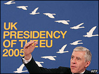 Jack Straw in front of the logo for the UK's presidency of EU