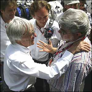 Formula One ringmaster Bernie Ecclestone and Star Wars flim-maker George Lucas