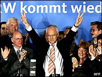 Juergen Ruettgers (C), the main CDU candidate in the North Rhine-Westphalia celebrates.