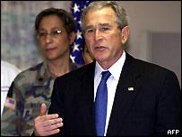 George Bush talking to reporters in San Antonio in Texas