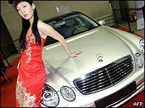 A model showing off a new Mercedes car in Beijing