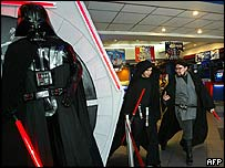 Fans dressed as Darth Vader in Santiago