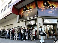 Queue outside a Parisian cinema
