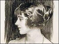 John Singer Sargent (1856-1925) - Lady Elizabeth Bowes-Lyon: profile portrait, 1923. The Royal Collection © 2005, Her Majesty Queen Elizabeth II