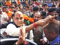 Rajnath Singh is greeted by party workers in Delhi