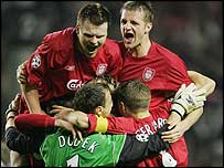 Liverpool celebrate their Champions League semi-final win over Chelsea
