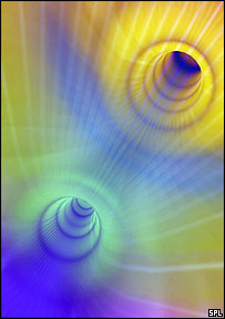 Artist's impression of a wormhole     Image: SPL
