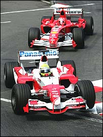 Ralf Schumacher leads brother Michael during Sunday's Monaco Grand Prix