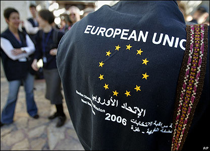 European Union observers wait for transportation to Palestinian territories ahead of 25 January elections