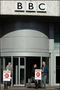 BBC staff picket the main entrance to Television Centre