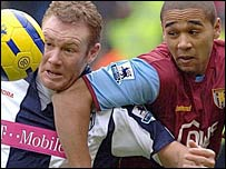 West Brom's Steve Watson (l) tussles for the ball with Luke Moore