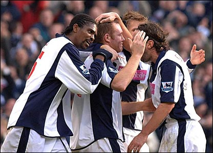 West Brom's players celebrate Steve Watson's goal