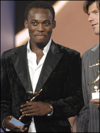 Ghana's Michael Essien with his award