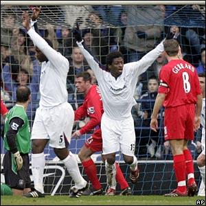 Radhi Jaidi scores the opening goal for Bolton