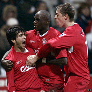 Liverpool's Luis Garcia (L) celebrates his equaliser