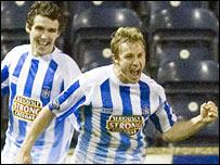 Gary Wales celebrates his vital late goal