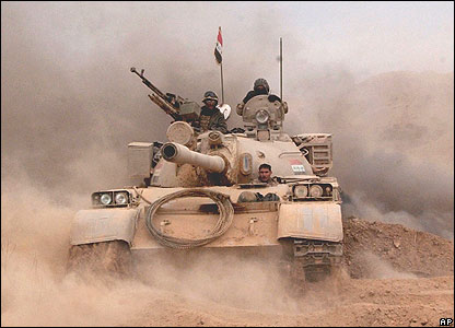 An Iraqi tank with the 2nd Army Brigade