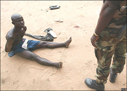 An alleged assailant on a military base in Abidjan, Ivory Coast