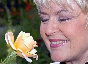 Gloria Hunniford with 'Caron Keating' rose