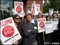 Striking BBC employees picket outside BBC Television Centre
