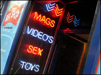 Exterior of a sex shop in Soho, London