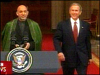 Presidents Karzai and Bush
