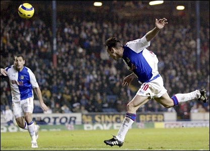 Paul Dickov scores Blackburn's second goal