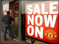 Sale now on sign at Man Utd store