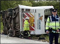 Emergency workers at the scene of the bus crash in County Meath