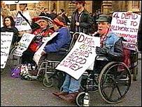 Demonstrators outside Downing Street
