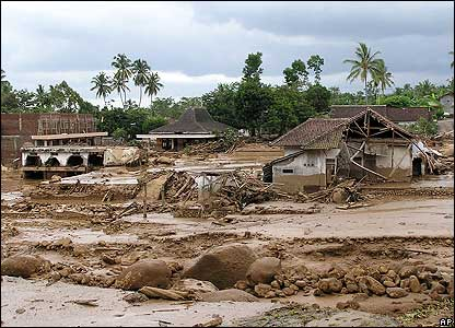 This is a view of a neighbourhood after flash floods struck in Kemiri village near the town of Jember, East Java, Indonesia, Monday, Jan. 2, 2006.