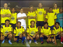 Aiden's football team in Laos