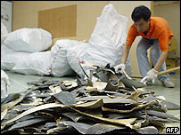 A worker shovels shark fins at a warehouse in Hong Kong, 23 May 2005.