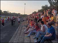 Fans at a friendly between Colwyn Bay and Wrexham last summer