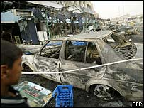 Wreckage of Tuesday's car bombing in Baghdad