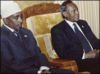 Parliamentary Speaker Sharif Hassan Sheikh Adan and President Abdullahi Yusuf at talks in Yemen