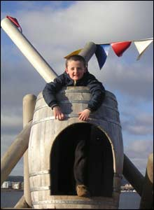 Llewelyn Harney, aged six, enjoying a freezing day out on Cardiff Bay Barrage - this picture was sent in by his dad Andrew Harney