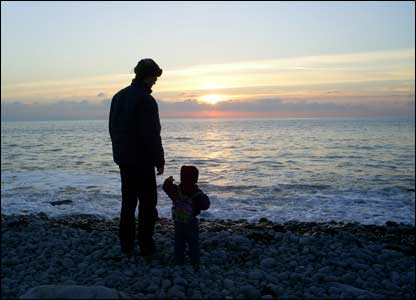 Isabel Wilks sent in this shot of her husband and youngest son at Southerndown beach