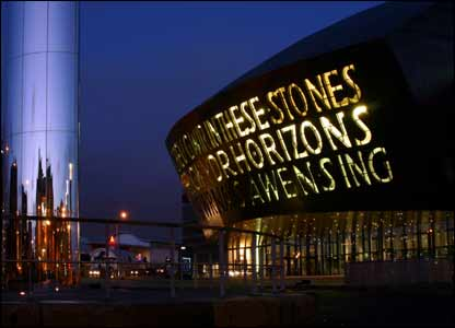 Sean Bolton sent in this night shot of the Wales Millennium Centre