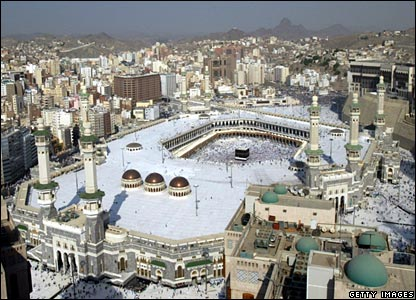 The Holy Mosque in Mecca. Mecca is revered as the holiest site of Islam,