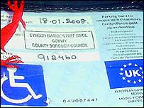 Example of a blue badge permit